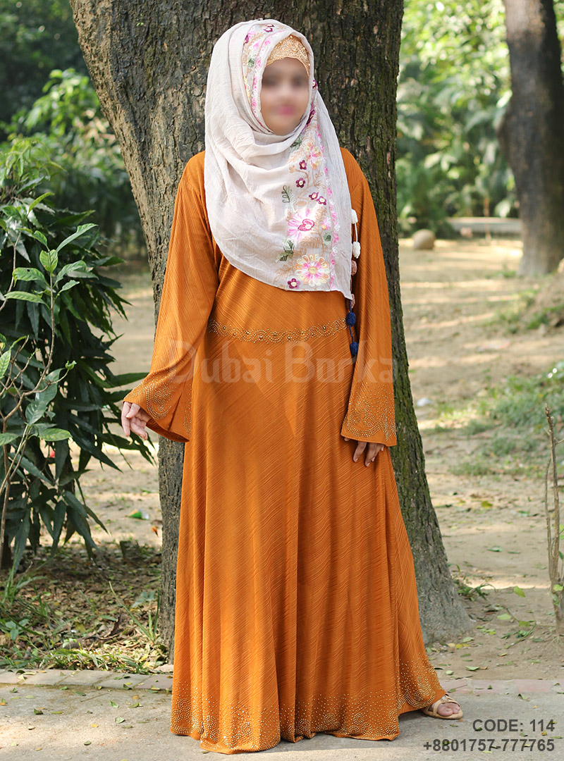 Gown Style Orange Color Borka