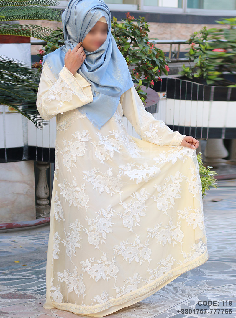 Latest Design Cream Gown Style Borka Double Part