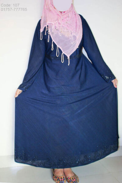 Blue Gown Style Borka with Black Stone design