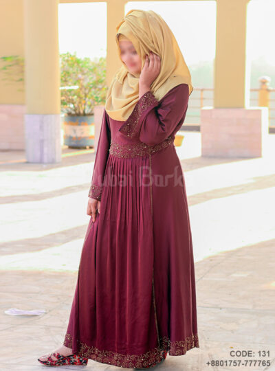 Gown Style Borka Maroon Color Pearl Work