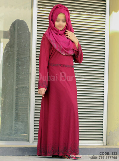 Gown Style Borka Maroon Color