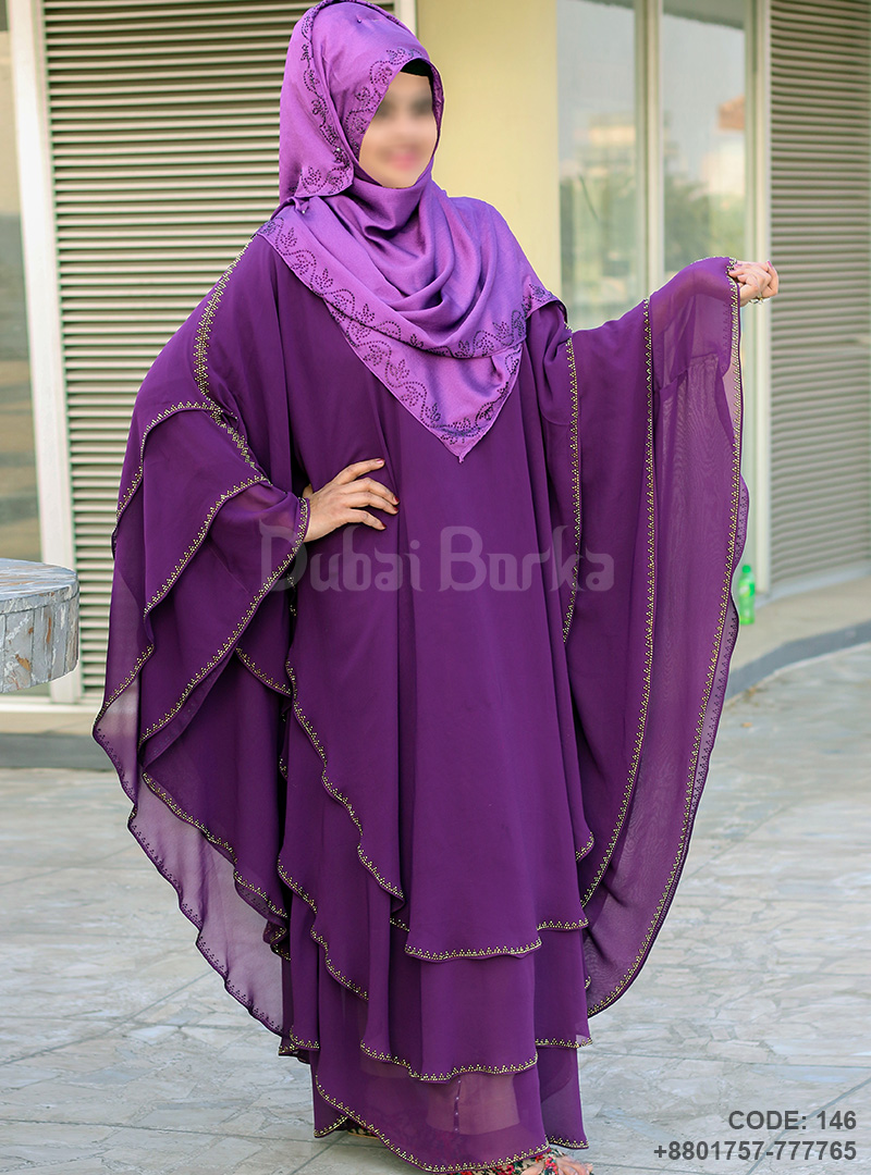 Dubai Triple Part Kaftan Borka Purple Color