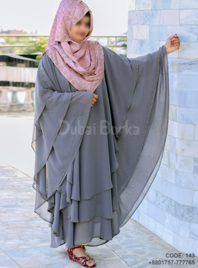 Dubai Triple Part Kaftan Borka Ash Color