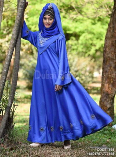 Blue Gown Style Borka with Ring Design Irani