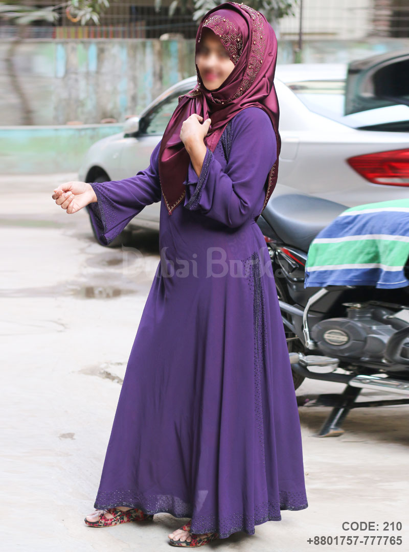 Irani Purple Gown Style Borka with Side Black Stone Design
