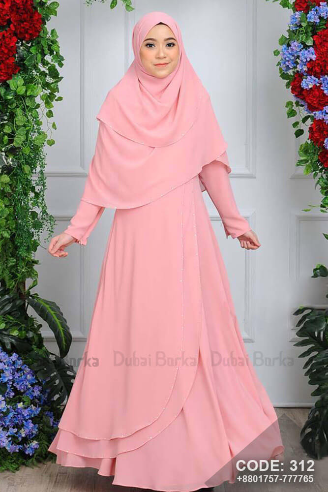 Malay Design Color Gown Style Borka with Hijab