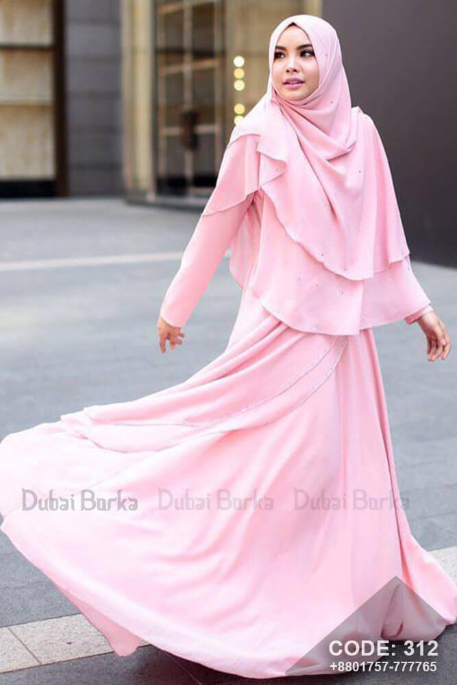 Malay Design Light Pink Color Gown Style Borka with Hijab , cheap borkha, 2018 abaya design, burqa collection in bd, purple design borka, wholesale borka