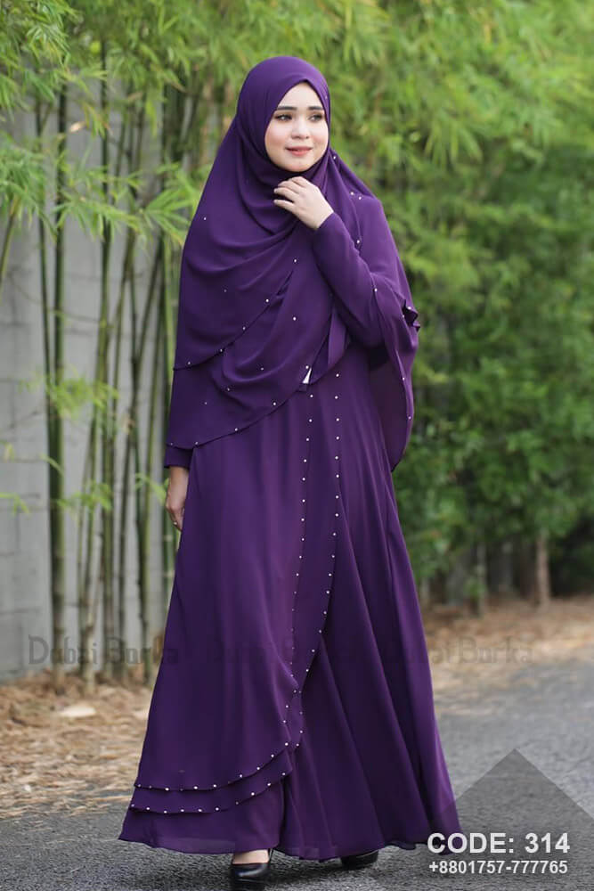 Malay Design Purple Color Gown Style Borka