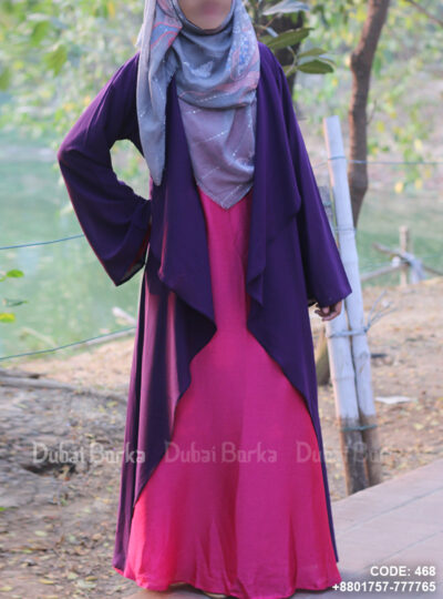 Georgette Cape Simple Design Grape Purple Color