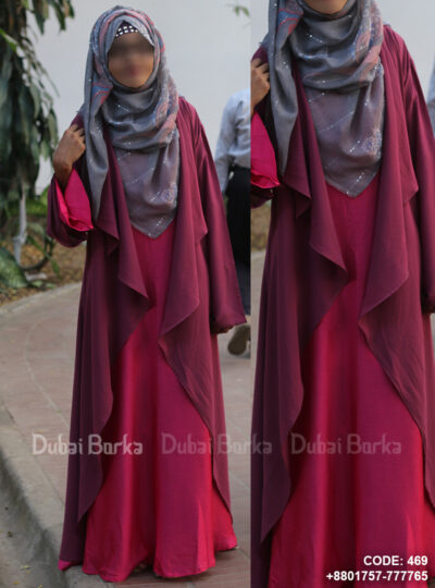 Georgette Cape Plum Purple Color Simple Design