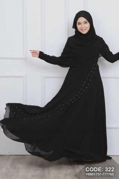 Malay Design Borka Black with Hijab