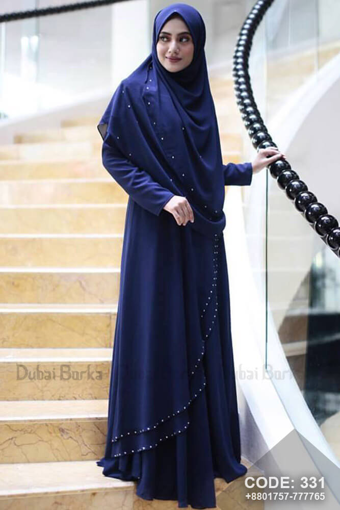 Malay Design Navy Blue Color with Hijab