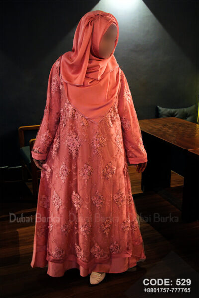 Dubai Party Design Borka with Hijab, Front side premium design lace works