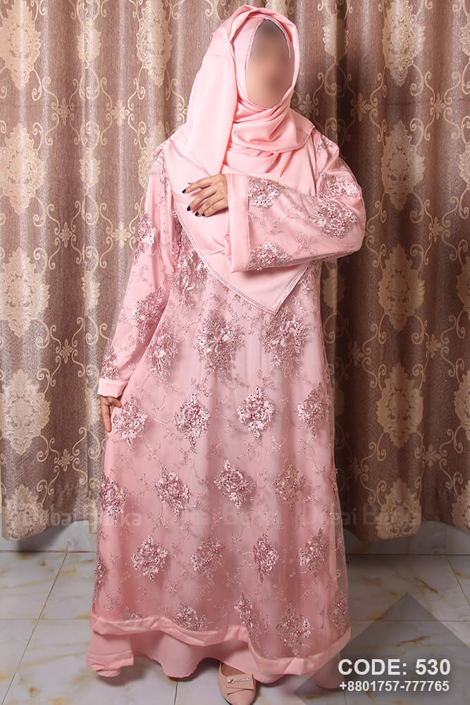 Dubai Party Design Borka with Hijab Light Pink