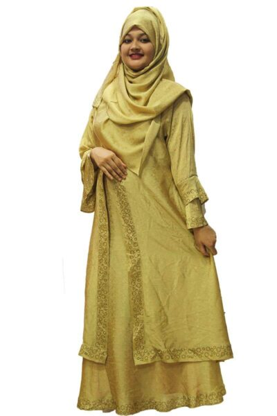 Dubai Double Part Golden Shimmer Borka With Matching Hijab